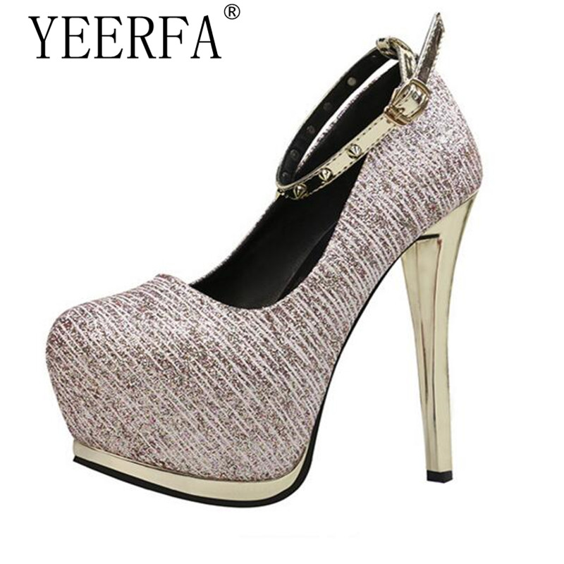 YEERFA High heels sexy pumps silver wedding shoes women gold heels platform shoes studded heels evening party shoes women heels<br>