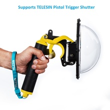 "TELESIN Waterproof 30M 6"" Dome Port and Float Bobber Handle for GoPro Hero 4 3 3+ Go Pro Camera Underwater Case Accessories Kit"