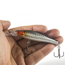 1PCS 3D Eyes Fly Fishing Lure Medium Diver Tight Wobble Slow Floating 8g 8cm 5 Colors Hard Bait Minnow Crankbait