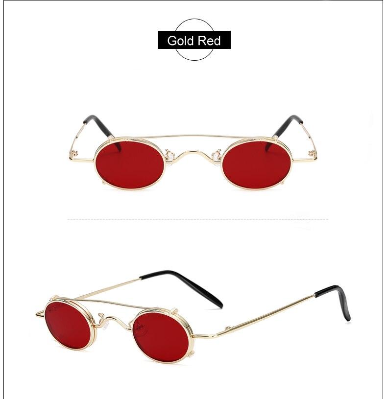 Ralferty Vintage Small Clip On Sunglasses Women Men Retro Mini Steampunk Goggles Punk Sun Glasses UV400 Eyewear Accessories B012 11