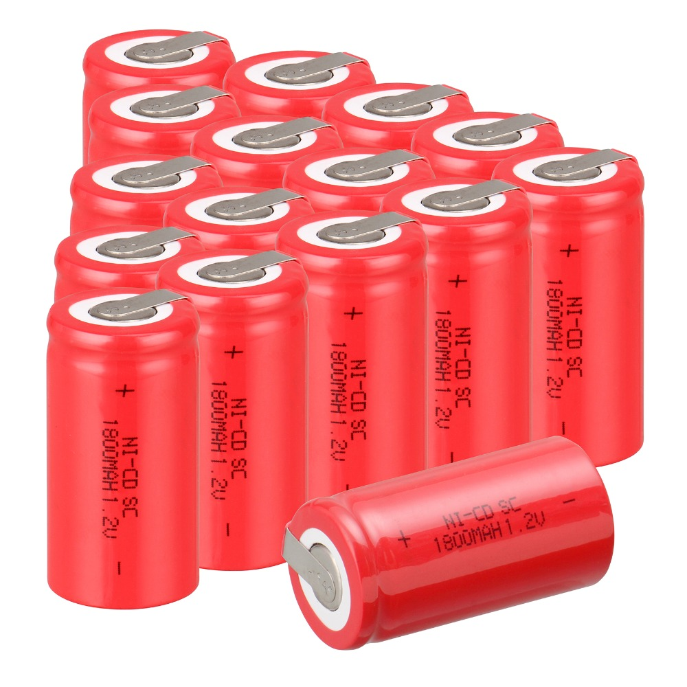 18 PCS Sub C SC battery 1.2V 1800mAh rechargeable battery Ni-Cd battery with tab 4.25*2.2cm--red   color<br><br>Aliexpress