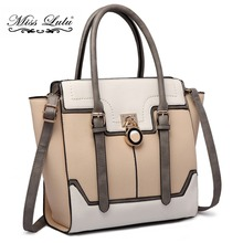Buy 1 Get 1 at 50% Off Miss Lulu Women Leather Handbag Top-handle Bags Padlock Laptop Tote Cross Body Shoulder Satchel LT1702(China)