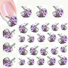 TOMTOSH New Watermark Water Transfer Design Purple Flower European Style Nail Art Sticker Nail Decal Manicure Tool
