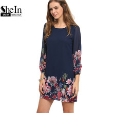 SheIn Ladies Autumn Fashion 2017 Long Sleeve Dress Casual Women Clothing Dark Blue Lantern Sleeve Floral Shift Dress
