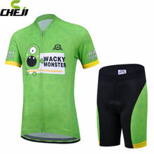 CHEJI Green Team Childrens Riding Ropa Ciclismo Summer Team Bicycle Wear Kits  Padded Shorts Cycling Jersey Sets
