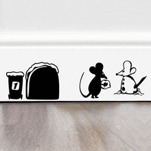 Funny Mouse hole Food wall stickers creative rat cartoon wall decals bedroom living room mice poster mural