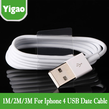 1M/2m/3m white USB Cable for iPhone 4 4S Data Charger Cabo Mobile Phone Charging Carregador Cord for iPhone 3G 3GS iPad 3 iPod