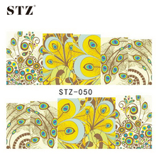 1sheets New DIY Polish Peacock Pattern Decals Manicure Beauty 3d Nail Art Stickers Water Transfer Full Cover Tips STZ050