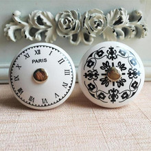 PARIS French ceramic handle digital clock pattern retro furniture Cabinet furniture handle drawer chest of drawers