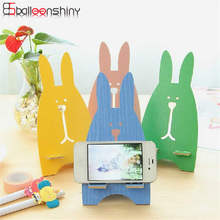 Detachable Fiberboard Lovely Rabbit Design Phone Holders Cute Cartoon Smartphone Stand Holder For Mobile Phones Storage Rack