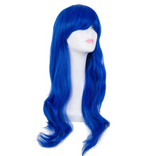 Cosplay Wig Fei-Show Synthetic Heat Resistant Long Wavy Blue Women Hair Costume Carnival Halloween Masque Party Salon Hairpiece
