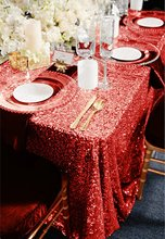 "Glitz Red Sequin 90""x90"" Rectangular Tablecloth Beautiful Wedding Decoration Sequin Table Linens for Wedding Decoration(China)"