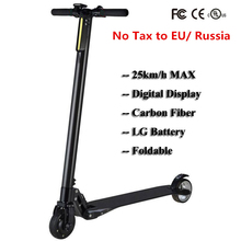 Lightest Carbon Fiber Folding Two Wheel Electric Scooter Skateboard Bike Steering-wheel Kick Scooter Adult Hoverboard LG Battery(China)