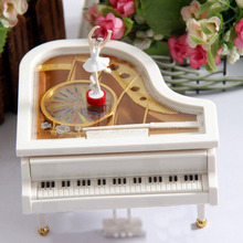 Hot Design White Gold Piano Music Box Classical Day Gift Boutique with Dancing Girl Song to Alice Mechanical Dancing Ballerina