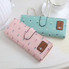 New Women's Synthetic PU Leather Tulip Printing Credit Card ID Long Card Holders Business Card Holders 55 Card Positions