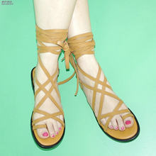 0b72c909b1f NAYIDUYUN Fashion Women Faux Suede Lace Up Knee High Roman Gladiator  Sandals Summer Ankle Strappy Party Thong Flat Oxfords Shoes