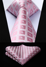 "TC715K8S Pink Check & Plaid 3.4"" Silk Tie set party wedding pocket square Woven Men Tie Necktie Handkerchief Set(China)"