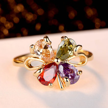 Aliexpress Sellers Rhodium Plated Ring Clover Zircon Ring Free Shipping