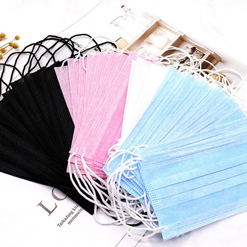 50pcs Non Woven Disposable Face Mask Medical Dental Earloop Activated Carbon Anti-Dust Face Surgical Masks