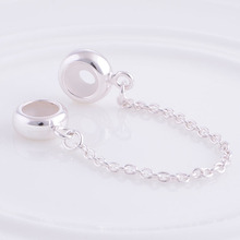 HOT Fits Pandora Charms Bracelet 925 Sterling Silver Stopper charm Bead Safety Chain Charm DIY Bracelets for Women Jewelry