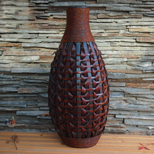 Kingart Large Bamboo Floor Vase Big Living Room Decorative Floor Vase Home Art & Craft Flower Vase At Woven Retro Antique Finish(China)