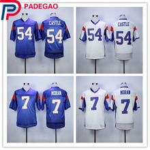 Hot Blue Mountain State Football Jersey 54 Thad Castle Blue 7 Alex Moran Stitched Movie TV Show Jerseys(China)
