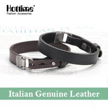 Fashion Pulseira New Fashion Wristband Cuff Vintage Italian Genuine Leather Bracelet Bangles For Male Christmas Gifts PG002(China)