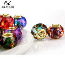 30pc Colorful Glass Crystal Beads Druzy Missangas European Beads Strass Cristal Perles Jewelry Accessories China Jewelry Beading(China)