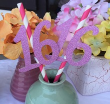 Happy 16th Birthday Party Accessories decoration pink Sweet 16 sixteen Paper Straws