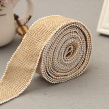 2 meters Pear Lace Jute Ribbon DIY Wedding Decoration Burlap Roll Wedding Party Event Gift Pack Material 3.5 cm wide