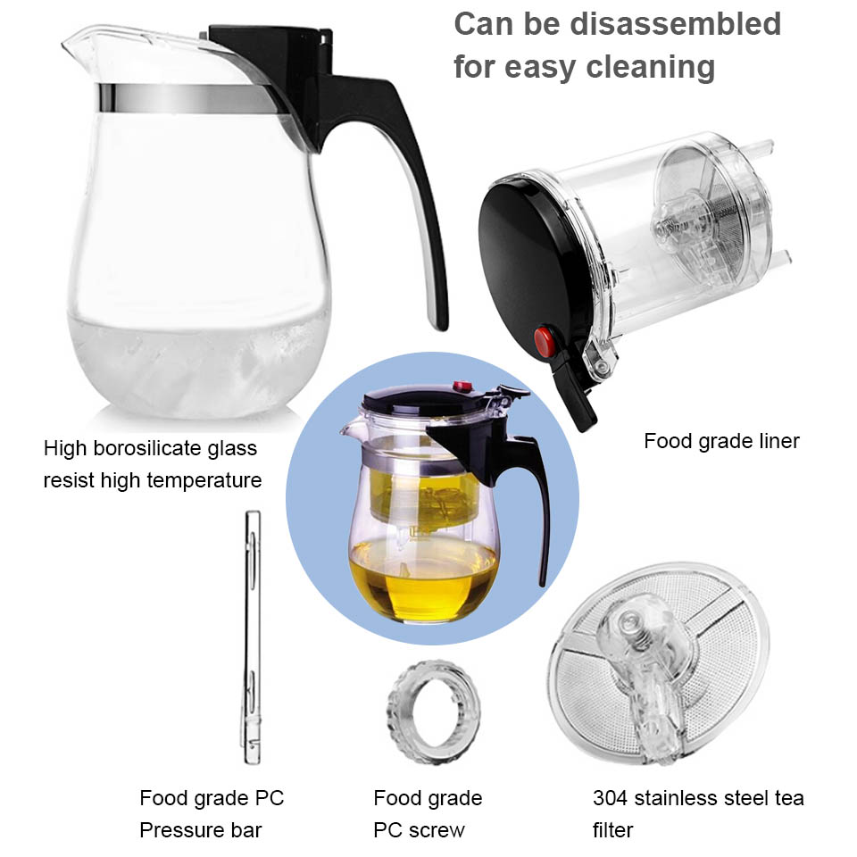 BORREY Heat Resistant Glass Teapot With Infuser Filter Chinese Kung Fu Puer Oolong Tea Teapot 500Ml Kamjove Tea Pot Water Kettle 4