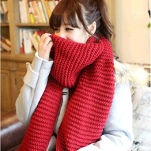 winter womens scarves and wraps red cashmere knitted scarf for women italian large big scarf(China)