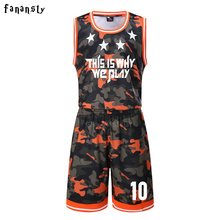 High quality men customized basketball uniforms camouflage college team basketball jerseys adult training suits 2017 new arrival