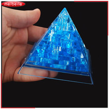 37 pcs 7.5*7.5*6.5cm DIY 3D Jigsaw Crystal Puzzle Pyramid Yellow Blue Plastic Educational Toys For Children