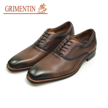 GRIMENTIN brand vintage brown men dress shoes genuine leather italian style male shoes business shoes(China)