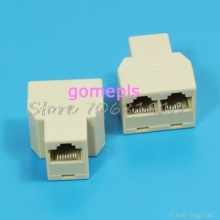 10Pcs/lot RJ45 Splitter 1to2 Network Ethernet Connecter Adapter Drop Shipping(China)