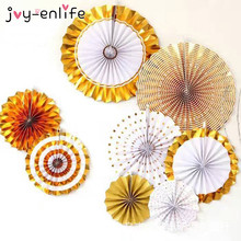 JOY-ENLIFE 8pcs Gold/Silver Handcraft Paper Fan Rosettes Folding Fan Flower Home Wedding Backdrop Decor Birthday Party Supplies
