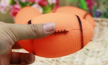 Free Shipping Dog Squeaky Toy For Pet Dog Chew Toy Small Rubber Squeaky Rugby Ball Orange