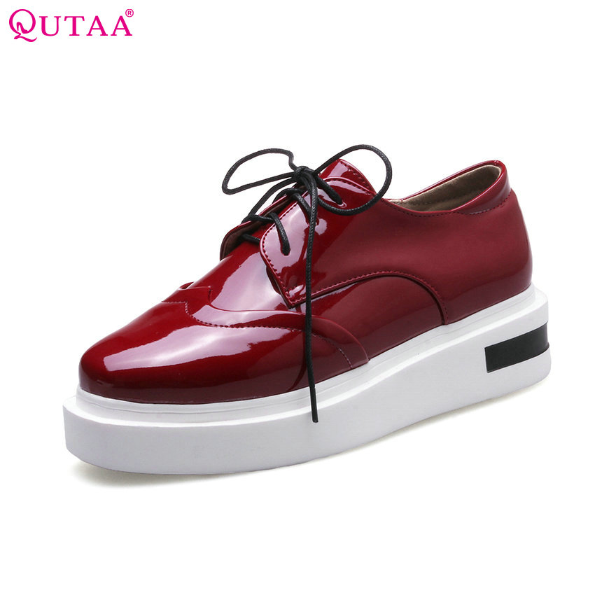 QUTAA 2017 Women Pumps Ladies Shoe Platform Lace Up Round Toe PU Patent leather Western Style Woman Wedding Shoes Size 34-43<br>