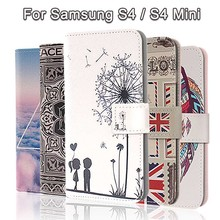 Fashion Painting Cross Lines Flip Wallet Case for Samsung Galaxy S4 Cover Samsung Galaxy S4 Mini Case for Samsung S4 Mini Coque
