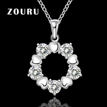ZOURU Brand 925 Sterling Silver Heart Necklaces With Zircon Paved Pendants Necklaces Women Bijuterias Jewelry