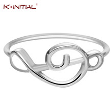 Kinitial Free Shipping Sale 1Pcs Treble Clef Ring In Gold Silver Selectable Music Musical Notes Rings Song Jewelry Select Ring
