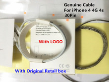 10Set/lot 1:1 Genuine 30Pin Metal braided USB Data Sync Charger Cable For ipad 2 3 iPhone 3G 3GS 4 4S With Original retail Box