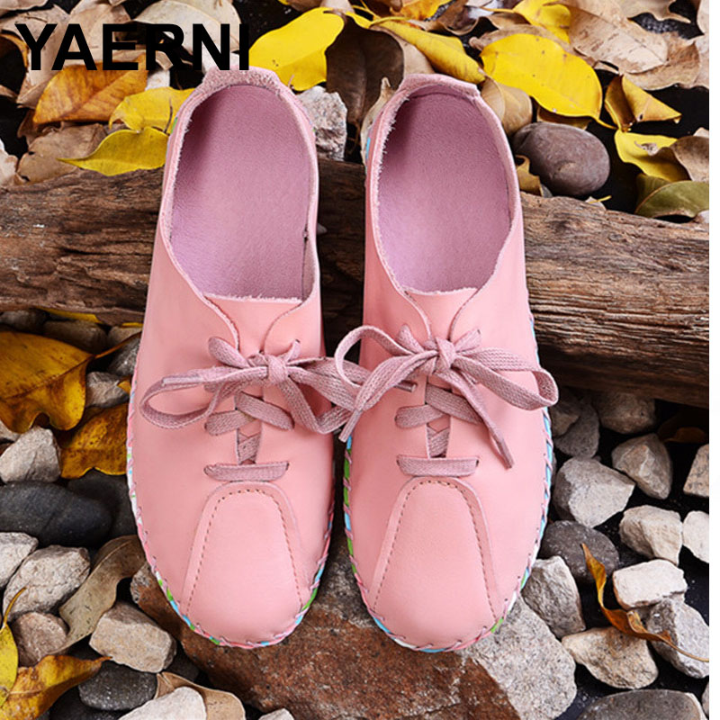 YAERNI Women White Pink Flat Shoes Hand sewed Genuine Leather Lace up Flats Colorful Rubber Sole Ladies Spring/Autumn Footwear<br>