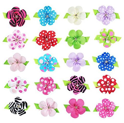 1000pcs/lot  Petal Flower Hair Bow with pearl Centre mix 15 color kids Hair Clips<br><br>Aliexpress