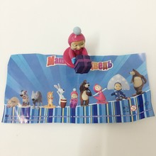 10pcs/set 100% different Gift Masha and Bear Action Figure toy.Hard Rubber 4-7cm Top quality Russian Masha The Bear Misha