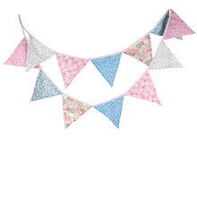 12Flags 3.2m Pink and Blue Pastoral Style Cotton Fabric Bunting Pennant Flags Banner Garland Baby Shower/Outdoor Decor Crafts