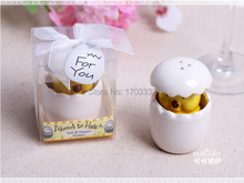 "100pcs Baby Shower Favors ""About to Hatch"" Ceramic Baby Chick Salt & Pepper Shakers DHL Fedex Free shipping(China)"