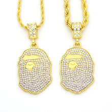 2 Colors Hip Hop Bling Iced Out Jewelry Head Pendant Necklace N655