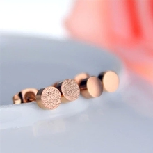Lose Money Promotion Wholesale Hot Selling Titanium Steel Rose Gold Color Frosted Earrings Woman Fashion Jewelry Never Fade(China)